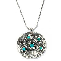 "SS TURQUOISE FIELD OF SUNFLOWERS PENDANT W/18"" + 2"" EXT CHAIN"