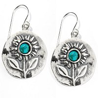 SS TURQUOISE FIELD OF SUNFLOWERS EARRINGS