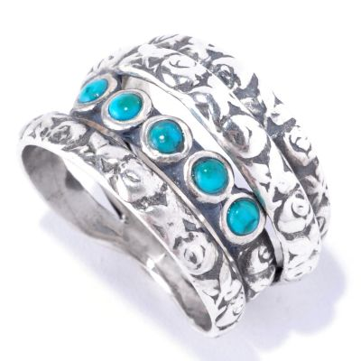 128-247 - Passage to Israel Sterling Silver Gemstone Textured Multi Band Ring