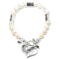 SS PEARL W/HEART TOGGLE BRACELET
