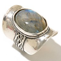 SS LABRADORITE WIDE BAND W/TEXTURE RING