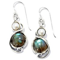 SS LABRADORITE AND PEARL DANGLE EARRINGS