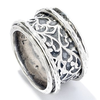 128-255 - Passage to Israel Sterling Silver Hammered & Oxidized Spinner Ring