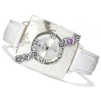 128-256 - Passage to Israel Sterling Silver Amethyst Accented Leather Strap Watch