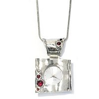 "SS SQUARE WATCH PENDANT W/GARNET ACCENTS W/24"" CHAIN"