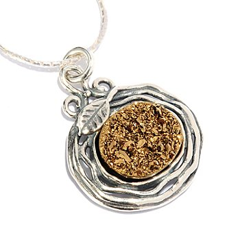 128-258 - Passage to Israel Sterling Silver 12 x 10mm Drusy Hammered Pendant w/ 17'' Chain