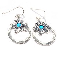 SS FLOWER CREATED OPAL HOOP DANGLE EARRINGS