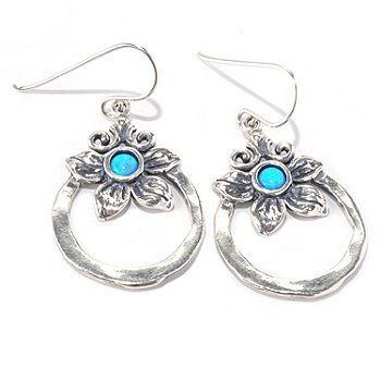 128-260 - Passage to Israel Sterling Silver Simulated Blue Opal Flower Circle Dangle Earrings