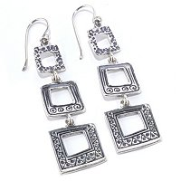 SS TEXTURED TRIPLE SQUARE DANGLE EARRINGS