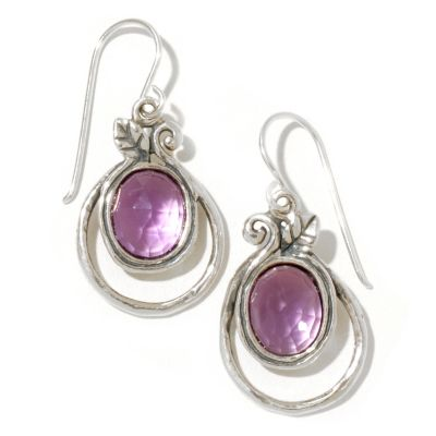 128-263 - Passage to Israel Sterling Silver 3.50ctw Amethyst Double Circle Dangle Earrings
