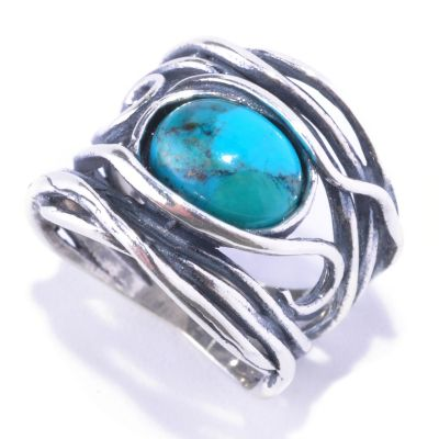128-265 - Passage to Israel Sterling Silver 10 x 8mm Turquoise Hammered Ring