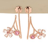 SS/18K ROSE VERMEIL EAR MORGANITE FLOWER SWIRL DROP
