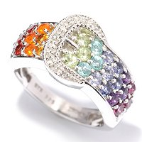 SS/P RING EXOTIC RAINBOW & WHITE ZIRCON BUCKLE