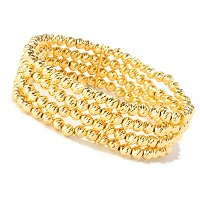 SS/18KGP BRAC 4-ROW DIAMOND-CUT BEAD STRETCH