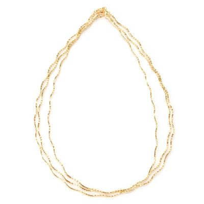 "128-273 - Scintilloro™ Gold Embraced™ Set of Three 18"" Diamond Cut Wavy Necklaces"