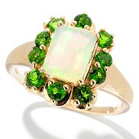 14K YG EM CUSHION ETHIOPIAN OPAL CHROME RING