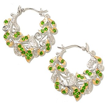 128-280 - Gem Treasures Sterling Silver 1.5ctw Diamond & Chrome Diopside Leaf Hoop Earrings
