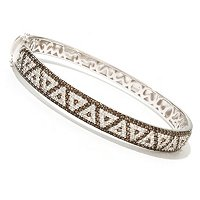 SS OVAL BANGLE WITH SMKY QTZ AND WHITE TOPAZ TRIANGLE PATTERN