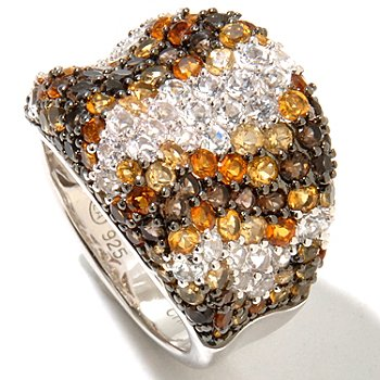 128-285 - Gem Treasures Sterling Silver 3.67ctw Citrine, White Topaz & Smoky Quartz Wide Concave Ring