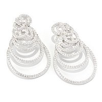 SB SS/PLAT ROUND CUT SWIRL OVERSIZED EARRINGS