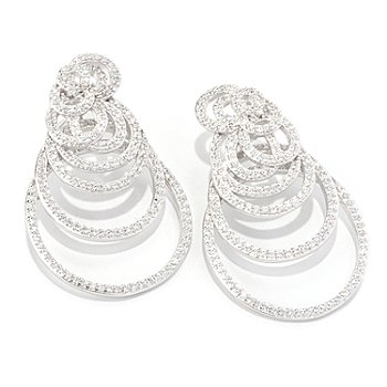 128-291 - Sonia Bitton for Brilliante® Platinum Embraced® Round Cut Swirl Oversized Earring