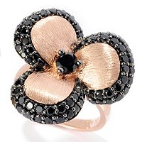 SS/P RING BLACK SPINEL 3-PETAL