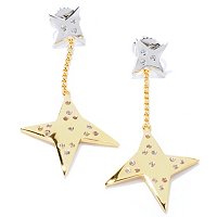 SS/P TWO-TONE EAR WHITE SAPPHIRE GEOMETRIC STAR DANGLE