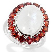 SS OVAL RAINBOW MOONSTONE WITH GARNET RING