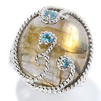 SS OVAL LABRADORITE AND TOPAZ RING 17X22