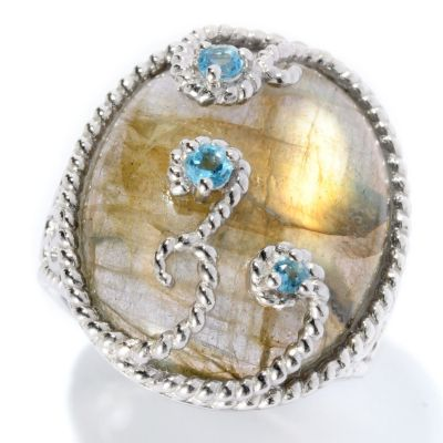 128-305 - Gem Insider Sterling Silver 22 x 17mm Labradorite & Blue Topaz Ring