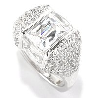 TYCOON SS/PLAT ANGULAR CHANNEL SET RECTANGULAR CUT AND PAVE FANCY RING