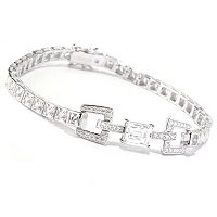 TYCOON SS/PLAT SQUARE AND RECTANGULAR AND ROUND CUT LINK LINE BRACELET