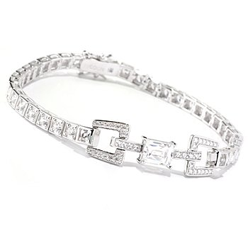 128-310 - TYCOON Platinum Embraced™ Rectangular Cut Simulated Diamond Link Line Bracelet