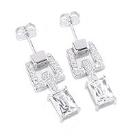 TYCOON SS/PLAT RECTANGULAR CUT LINK DROP EARRINGS
