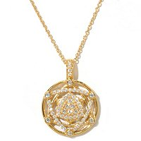 "SB SS/18K YGP ROUND CUT STAR OF DAVID PENDANT w. 18"" CHAIN"