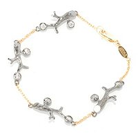 SB SS/TWO-TONE BRANCH ROUND CUT BEZEL SET BRACELET