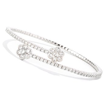 128-315 - Sonia Bitton for Brilliante® Platinum Embraced™ Round Cut Flower Flex Bracelet