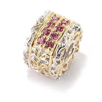 128-330 - Gems en Vogue II Raspberry Sapphire Square Slide-On Charm
