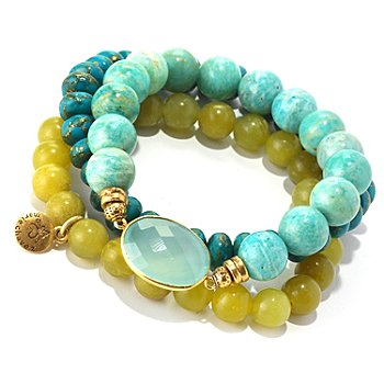128-332 - mariechavez Set of Three Genuine Multi Gemstone Beaded Bracelets