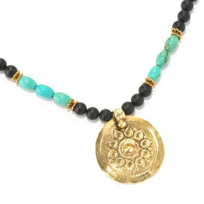 "128-334 - mariechavez 30"" Turquoise & Gemstone Beaded Sun Necklace"