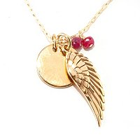 "MARIECHAVEZ 18"" + 2"" EXT ANGEL WING AND DISC PENDANT W/RUBY DROPS"
