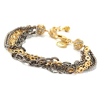 128-343 - mariechavez 7'' Multi Strand ''Rocker'' Bracelet Made w/ Swarovski® Elements