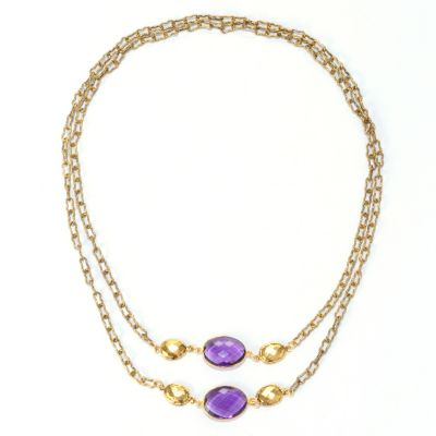 "128-344 - mariechavez 40"" Gemstone Station Necklace"
