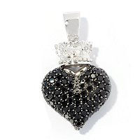 SS CROWN AND HEART ENHANCER BLK SPINEL
