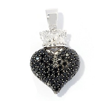 128-351 - Gem Treasures Sterling Silver 11.55ctw Spinel Heart & Crown Enhancer Pendant