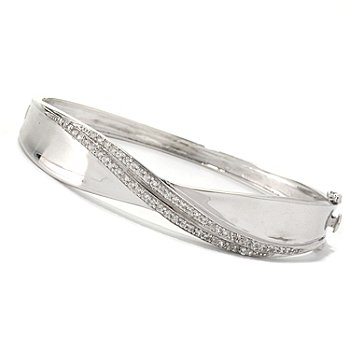 128-352 - Gem Treasures Sterling Silver 7.25'' White Zircon Double Row Bangle Bracelet