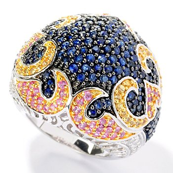 128-360 - Gem Treasures Sterling Silver 4.76ctw Multi Color Sapphire & Diamond Dome Ring