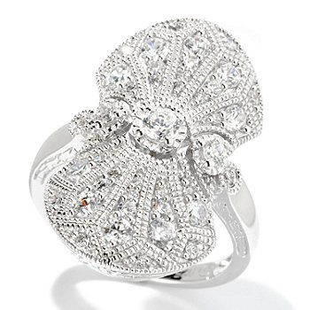 128-361 - Champenois® for Brilliante® Round Cut Milgrain Elongated Vintage-Style Ring