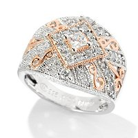 CHAMP SS 18KRGP ACCENT PRINCESS & ROUND CUT MILGRAIN DOMED RING