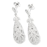 CHAMP SS ROUND CUT MILGRAIN DROP EARRINGS